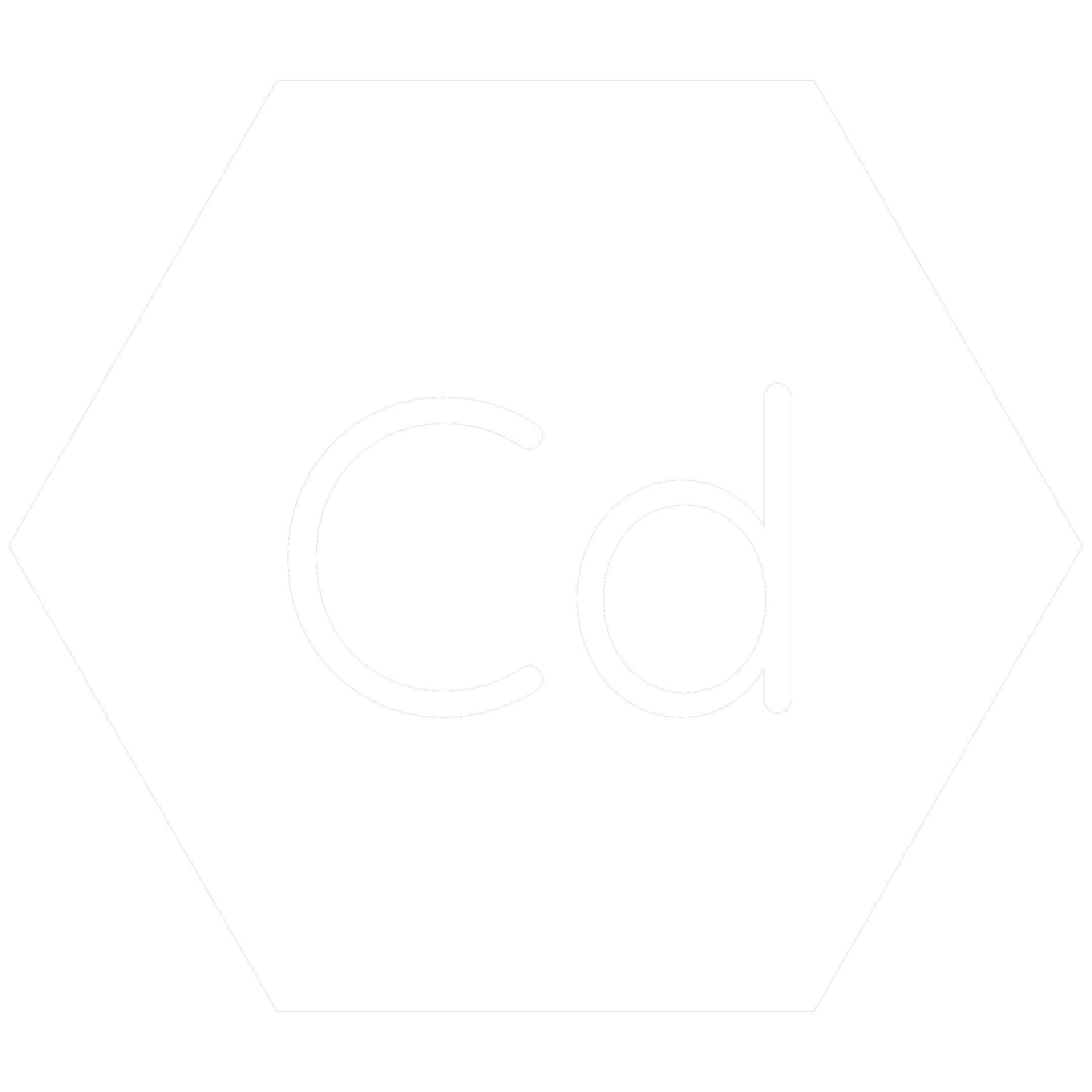 White hexagon icon with the chemical symbol for Cadmium which is a banned RoHS substance.