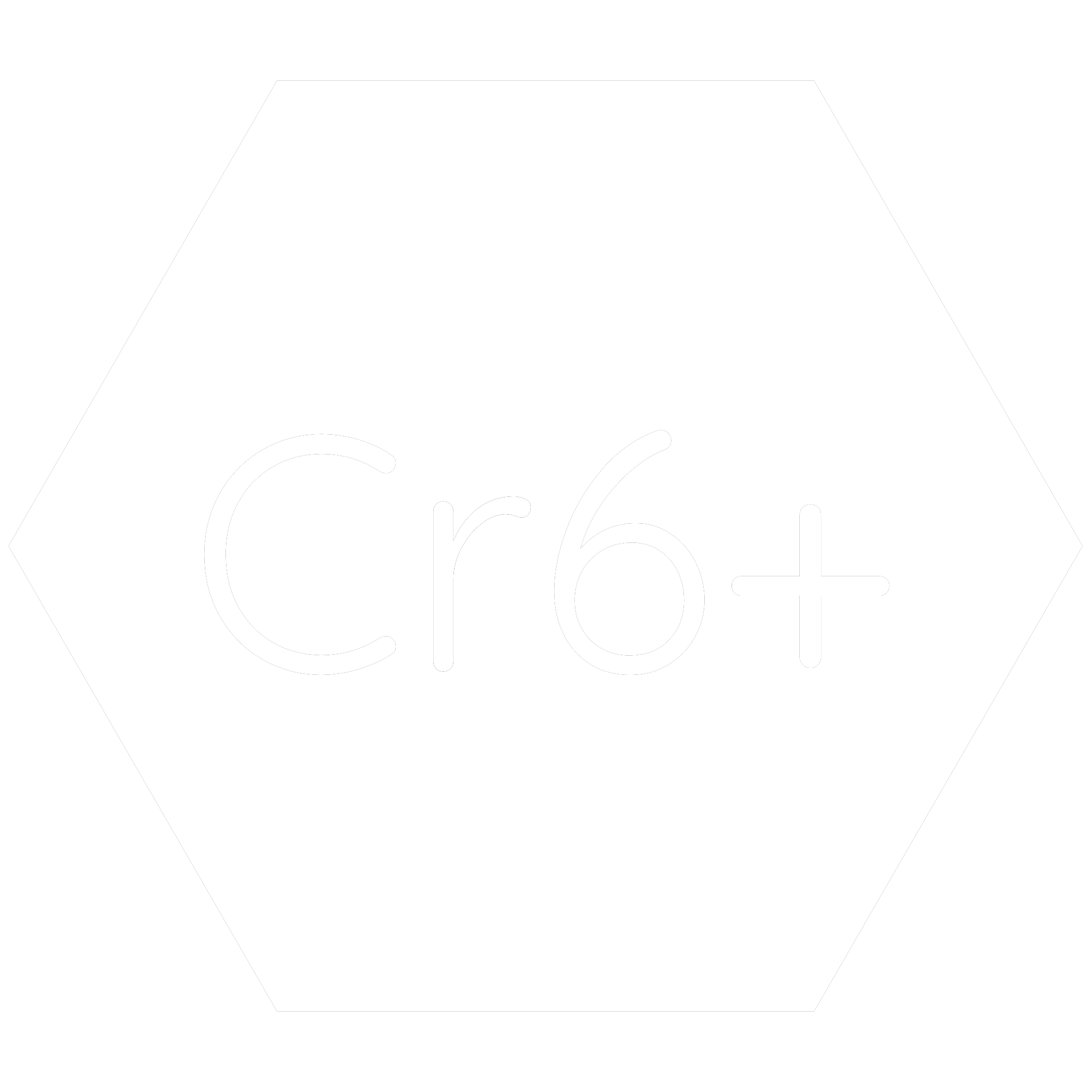 White hexagon icon with the chemical symbol for Hexavalent Chromium  which is a banned RoHS substance.