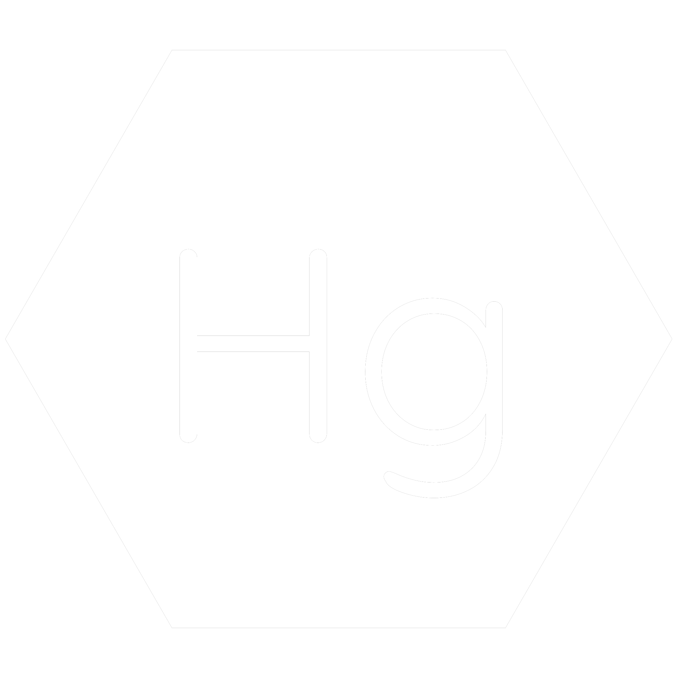 White hexagon icon with the chemical symbol for Mercury which is a banned RoHS substance.