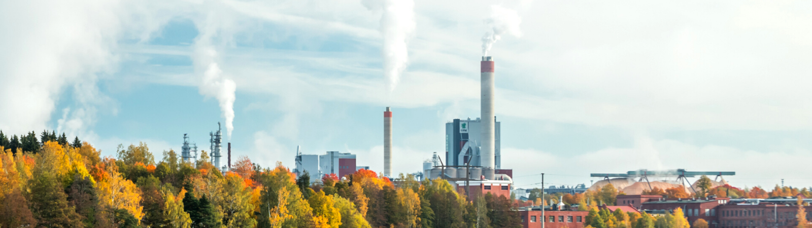 Forrest skyline with a large factory protruding above the tree-line, emitting white carbon filled smoke to represent greenhouse gasses